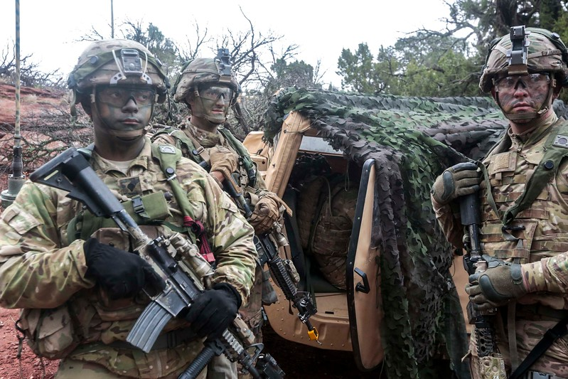 Members of the 2nd Infantry Brigade Combat Team wait outside the aid station at Camp Red Devil in Fort Carson, Colo. on Sunday, Sept. 24, 2017. The 2nd Brigade had been out in the field for a week.<br /> <br /> (The Gazette, Nadav Soroker)