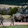 Members of the 1st Infantry Brigade return to Camp Red Devil in Fort Carson, Colo. on Sunday, Sept. 24, 2017. After an assault on the 2nd Brigade's position both groups transitioned to another part of the exercise.<br /> <br /> (The Gazette, Nadav Soroker)
