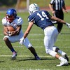 Fort Carson's Eric Donnell tries to juke through Pine Creek players at Liberty High School in Colorado Springs, Colo. on Saturday, Sept. 16, 2017. <br /> <br /> (The Gazette, Nadav Soroker)