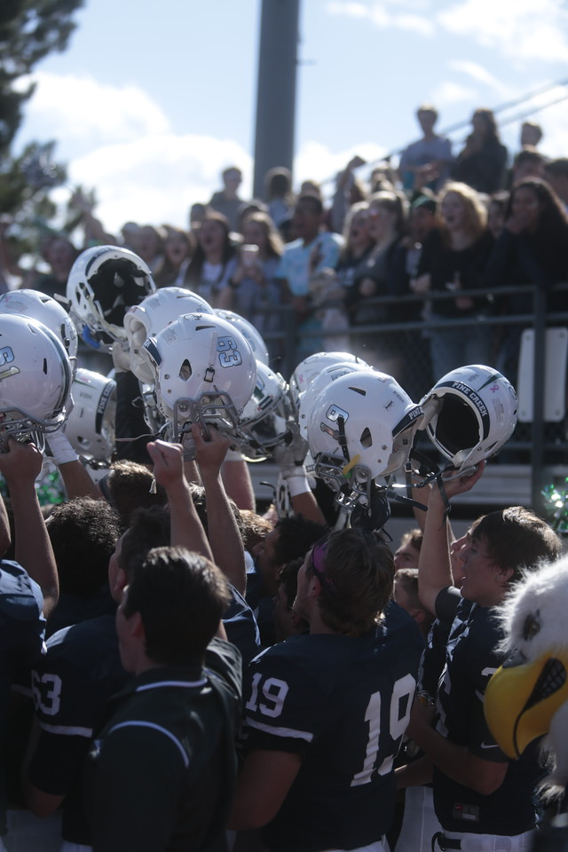 Pine Creek players cheer with their fans after their victory over Fort Carson at Liberty High School in Colorado Springs, Colo. on Saturday, Sept. 16, 2017.<br /> <br /> (The Gazette, Nadav Soroker)