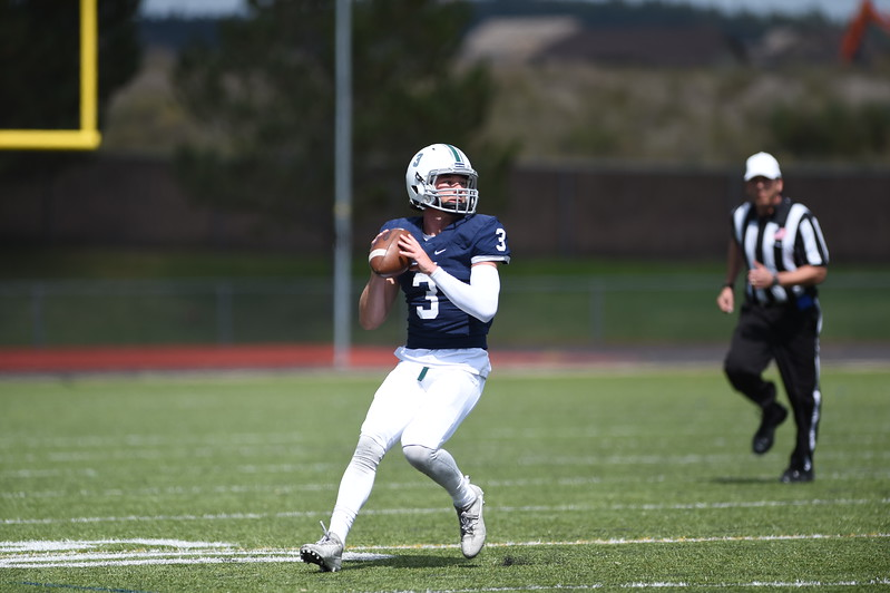 Pine Creek quarterback JC Coulter lines up a pass at Liberty High School in Colorado Springs, Colo. on Saturday, Sept. 16, 2017.<br /> <br /> (The Gazette, Nadav Soroker)