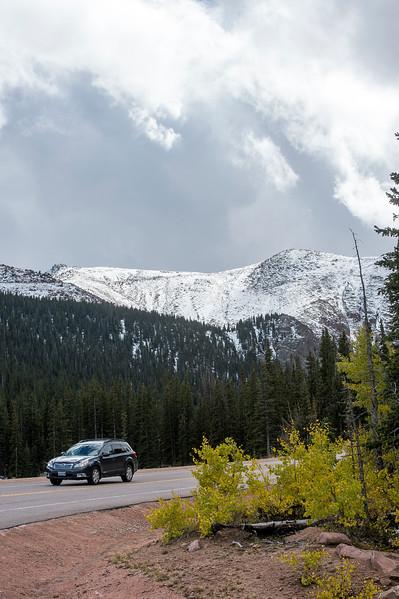 Snow caps Pikes Peak on Friday, Sept. 29, 2017.<br /> <br /> (The Gazette, Nadav Soroker)