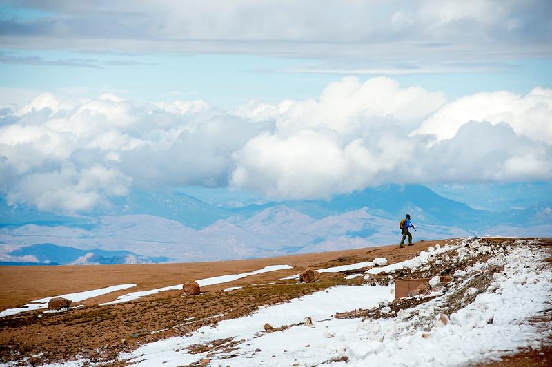 David Graebner arrives at the Devil's Playground on his way up Pikes Peak on Friday, Sept. 29, 2017. Graebner and Samantha Helmer started the hike at 7:30 a.m.<br /> <br /> (The Gazette, Nadav Soroker)