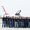 Enlistees stand on the Hot Deck waiting to be sworn in to the Air Force at the Pikes Peak Regional Airshow on Saturday, Sept. 23, 2017. Their oath was administered by Lt. Col. Jason Heard, the commander of the Thunderbirds.<br /> <br /> (The Gazette, Nadav Soroker)