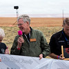Randy Royal laughs with Bill Klaers, president of the National Museum of WWII Aviation, after the Royal family presented a 10,000 dollar check to the museum at the Pikes Peak Regional Airshow on Saturday, Sept. 23, 2017. Jim Slattery, a museum board member, holds a propellor tip that the Royal family also donated.<br /> <br /> (The Gazette, Nadav Soroker)