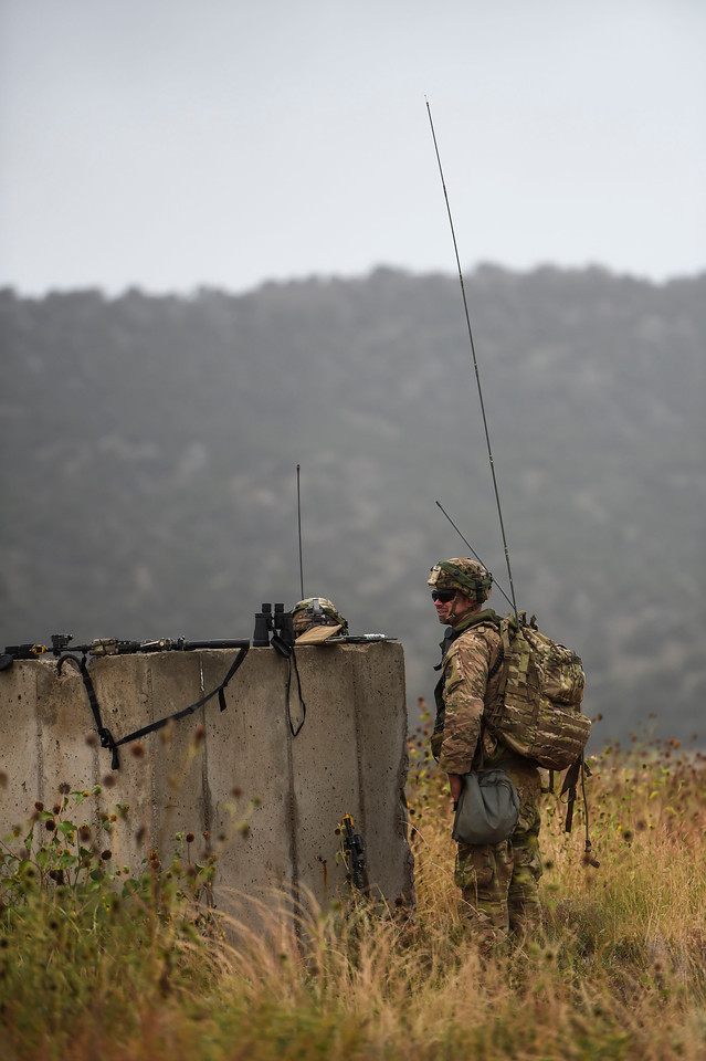 The 2nd Infantry Brigade Combat Team defends a town in a training exercise at Camp Red Devil in Fort Carson, Colo. on Sunday, Sept. 24, 2017. The exercise started Sunday, Sept. 17, and was running until all the Mission Essential Tasks had been completed.<br /> <br /> (The Gazette, Nadav Soroker)