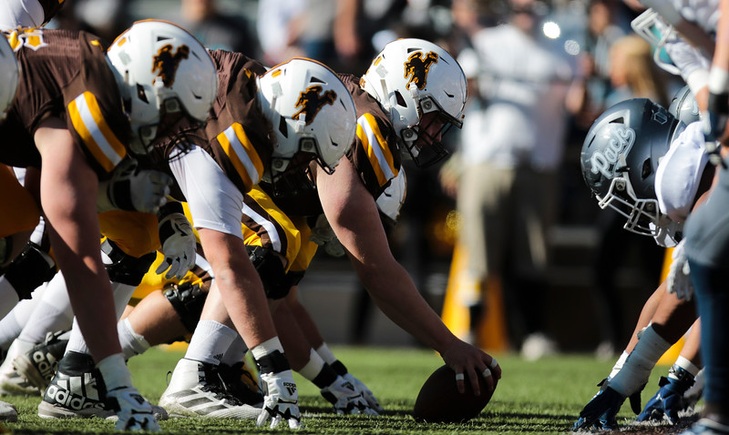 The Cowboys line faces off against the Wolf Pack Saturday, Oct. 26, 2019 at War Memorial Stadium. Wyoming defeated Nevada 31-3. Nadav Soroker/Wyoming Tribune Eagle