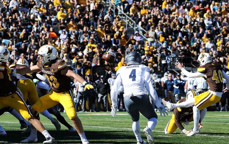 Cowboys kicker Cooper Rothe tries for an extra point as the  Wyoming Cowboys take on the Nevada Wolf Pack Saturday, Oct. 26, 2019 at War Memorial Stadium. Wyoming defeated Nevada 31-3. Nadav Soroker/Wyoming Tribune Eagle