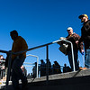 Doc Eddy, center, and Erron Hopkins walk down the steps into the stadium as the Wyoming Cowboys prepare to take on the Nevada Wolf Pack Saturday, Oct. 26, 2019 at War Memorial Stadium. Nadav Soroker/Wyoming Tribune Eagle