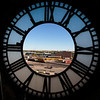 The Union Pacific depot is visible through the hole in the south face of the clock in the Depot Clock Tower while the clock is under repair Friday, September 13, 2019 in downtown Cheyenne. Nadav Soroker/Wyoming Tribune Eagle