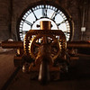 The central gear assembly that connects to each of the four faces of the Depot Clock Tower is framed in the north pane of the clock Friday, September 13, 2019 in downtown Cheyenne. Nadav Soroker/Wyoming Tribune Eagle
