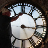 Bob Cordle tightens down a pane in the north face of the  clock in the Depot Clock Tower Friday, September 13, 2019 in downtown Cheyenne. Nadav Soroker/Wyoming Tribune Eagle