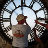 Phil Wright, the owner of Tower Clock Company, and Bob Cordle replace the east face of the Depot Clock Tower Friday, September 13, 2019 in downtown Cheyenne. Nadav Soroker/Wyoming Tribune Eagle