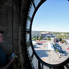 Bob Cordle cleans the setting of the east face of the  clock in the Depot Clock Tower Friday, September 13, 2019 in downtown Cheyenne. Nadav Soroker/Wyoming Tribune Eagle