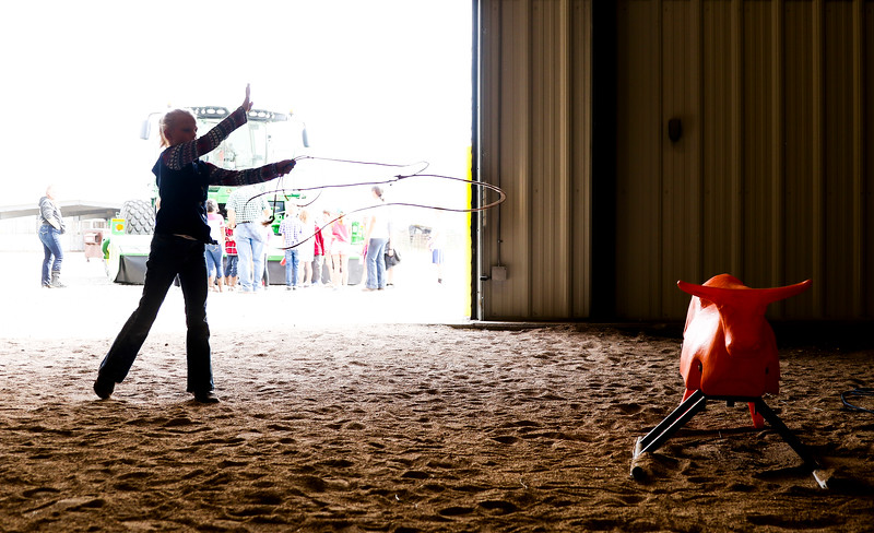 Katie Beavers, 9, practices lassoing a practice steer at the Laramie County Ag Expo which exposes fourth graders from all the Laramie County Schools to agriculture and where their food comes from Tuesday, September 17, 2019 at the Archer Complex.
