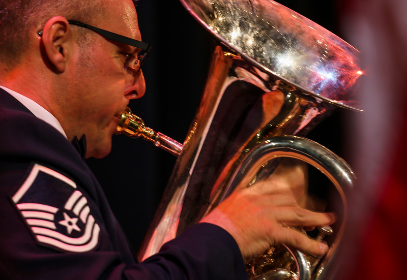 Master Sgt. Karl Bradley plays the euphonium in the United States Air Force Academy brass ensemble, Stellar Brass, during the performance Monday, September 30, 2019 in the Atlas Theatre. Nadav Soroker/Wyoming Tribune Eagle