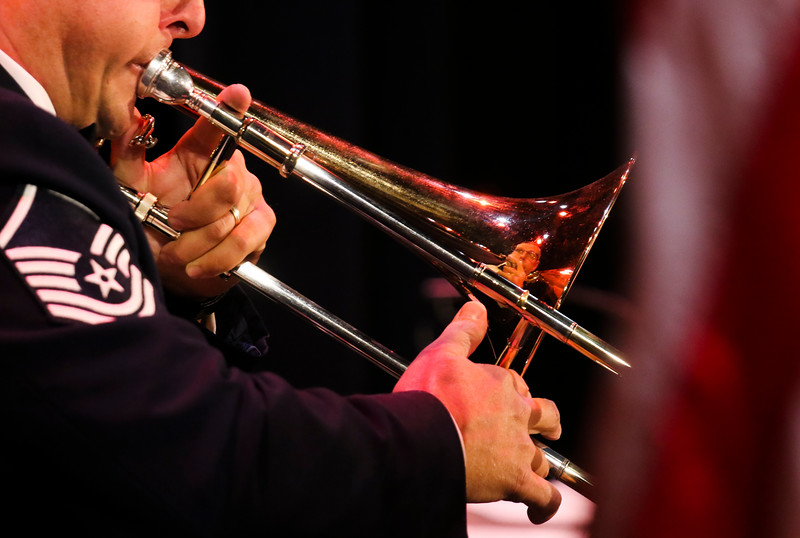 Master Sgt. Karl Bradley plays the trombone in the United States Air Force Academy brass ensemble, Stellar Brass, during the performance Monday, September 30, 2019 in the Atlas Theatre. Nadav Soroker/Wyoming Tribune Eagle
