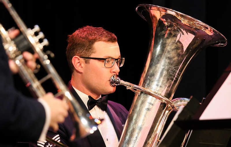 Senior Airman Jacob Hilton plays the tuba with the United States Air Force Academy brass ensemble, Stellar Brass, as they perform Monday, September 30, 2019 in the Atlas Theatre. Nadav Soroker/Wyoming Tribune Eagle