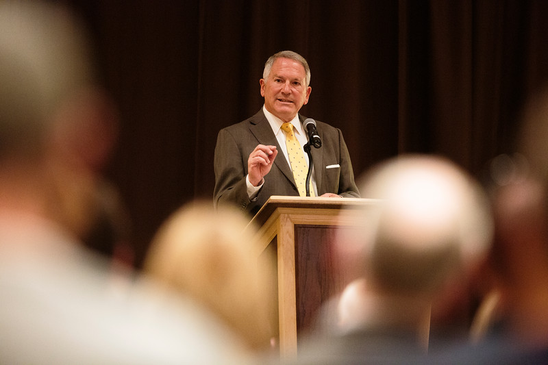 University of Wyoming interim president Neil Theobald delivers a State of the University address Thursday, October 3, 2019 in the Marian H. Rochelle Gateway Center. Nadav Soroker/Laramie Boomerang