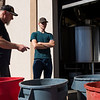 Head brewer Mitch Kunce and assistant brewer Jake Bauer talk through the rest of the clean up after brewing a Vienna Oatmeal Blonde Ale Tuesday, October 8, 2019 at The Library Sports Grille and Brewery.  Nadav Soroker/Laramie Boomerang