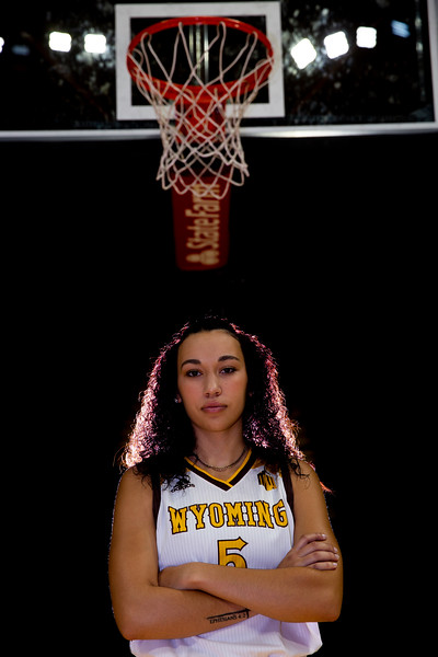 Jaye Johnson (5) poses for a portrait at the University of Wyoming Basketball Media Day Wednesday, October 9, 2019 in the Arena-Auditorium. Nadav Soroker/Wyoming Tribune Eagle