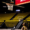 Greg Milton III (12) watches a teammate sink a shot in between interviews and photos at the University of Wyoming Basketball Media Day Wednesday, October 9, 2019 in the Arena-Auditorium. Nadav Soroker/Wyoming Tribune Eagle