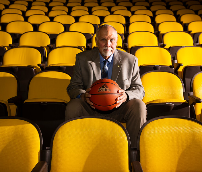 Cowgirls coach Gerald Mattinson poses for a portrait in the stands during the University of Wyoming Basketball Media Day Wednesday, October 9, 2019 in the Arena-Auditorium. Nadav Soroker/Wyoming Tribune Eagle