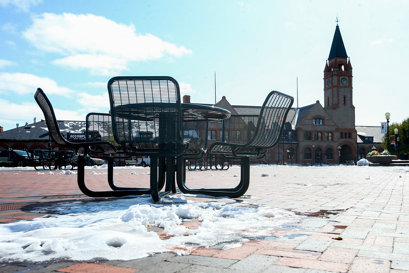 Snow lingers on the ground in Depot Plaza after the first snowfall of the season Thursday, October 10, 2019 in Cheyenne. Up to four inches of snow fell across Cheyenne according to the National Weather Service. Nadav Soroker/Wyoming Tribune Eagle