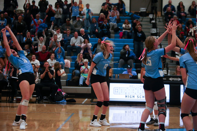 Cheyenne East players celebrate their victory Thursday, October 10, 2019 at the East High School Thunderdome. Cheyenne East High School Thunderbirds volleyball defeated the the Cheyenne Central High School Indians in straight sets. Nadav Soroker/Wyoming Tribune Eagle