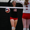 Central senior Macy Palmer (12) and senior Shelby Murrell (9) celebrate after a point Thursday, October 10, 2019 at the East High School Thunderdome. Cheyenne East High School Thunderbirds volleyball defeated the the Cheyenne Central High School Indians in straight sets. Nadav Soroker/Wyoming Tribune Eagle