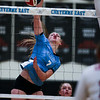 East sophomore Kiera Walsh (7) spikes the ball Thursday, October 10, 2019 at the East High School Thunderdome. Cheyenne East High School Thunderbirds volleyball defeated the the Cheyenne Central High School Indians in straight sets. Nadav Soroker/Wyoming Tribune Eagle