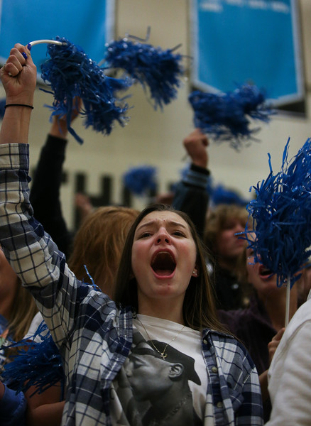 Cheyenne East student Allyson Voss cheers on the team during the Senior Night game Thursday, October 10, 2019 at the East High School Thunderdome. Cheyenne East High School Thunderbirds volleyball defeated the the Cheyenne Central High School Indians in straight sets. Nadav Soroker/Wyoming Tribune Eagle