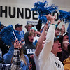 Cheyenne East students Allyson Voss, Marcus Cole and Parker McWaters cheer on the athletes for Senior Night Thursday, October 10, 2019 at the East High School Thunderdome. Cheyenne East High School Thunderbirds volleyball defeated the the Cheyenne Central High School Indians in straight sets. Nadav Soroker/Wyoming Tribune Eagle