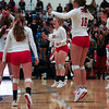 Cheyenne Central players celebrate a point Thursday, October 10, 2019 at the East High School Thunderdome. Cheyenne East High School Thunderbirds volleyball defeated the the Cheyenne Central High School Indians in straight sets. Nadav Soroker/Wyoming Tribune Eagle
