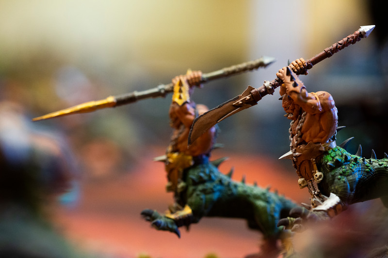 Dragon Ogor figurines in the Warhammer: Age of Sigmar tabletop war game during Olympus Games and Comics' Clash of the Tetons tournament Friday, October 11, 2019 at the Plains Hotel. Clash of the Tetons will continue Saturday with a Warhammer: 40K tournament. Nadav Soroker/Wyoming Tribune Eagle