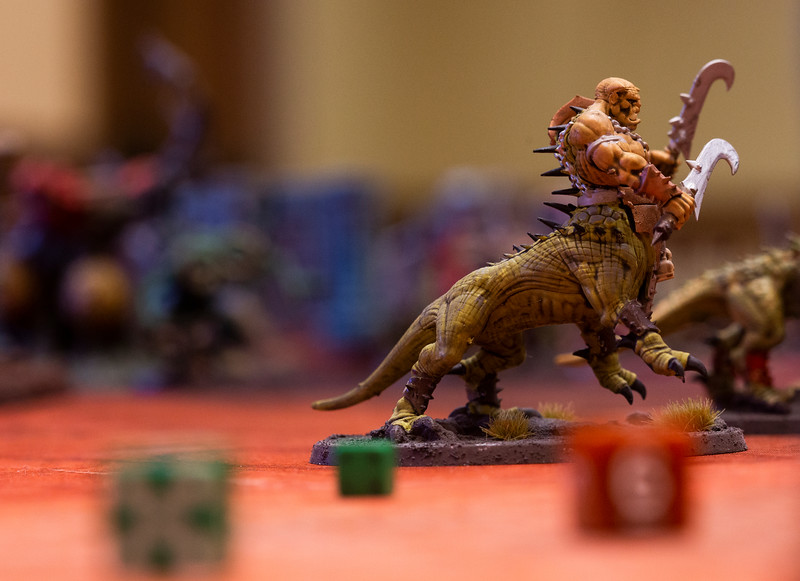 A Dragon Ogor figurine in the Warhammer: Age of Sigmar tabletop war game during Olympus Games and Comics' Clash of the Tetons tournament Friday, October 11, 2019 at the Plains Hotel. Clash of the Tetons will continue Saturday with a Warhammer: 40K tournament. Nadav Soroker/Wyoming Tribune Eagle