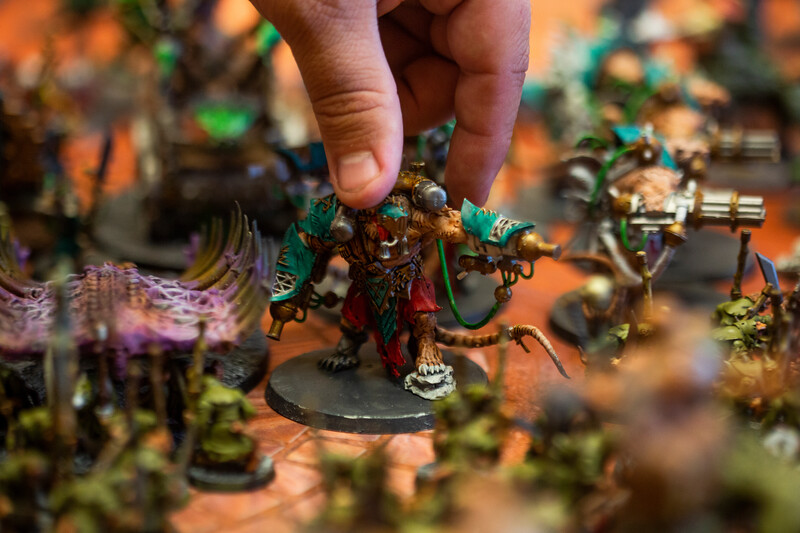 Greg Goede moves a stormfiend figurine in the Warhammer: Age of Sigmar tabletop war game during Olympus Games and Comics' Clash of the Tetons tournament Friday, October 11, 2019 at the Plains Hotel. Clash of the Tetons will continue Saturday with a Warhammer: 40K tournament. Nadav Soroker/Wyoming Tribune Eagle