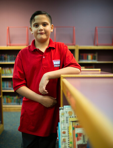 Luis Reyes, the Scholastic journalist for Wyoming, poses for portraits in the library and classroom Friday, October 11, 2019 at Alta Vista Elementary School. Nadav Soroker/Wyoming Tribune Eagle