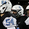 Cheyenne East players Trey Bower (54), Colton Haugen (7) and Adrian Hernandez (32) shake hands with the Cheyenne Central team after the end of the game Friday, October 11, 2019 at Cheyenne East High School. The Cheyenne East High School Thunderbirds defeated the Cheyenne Central High School Indians 24-21. Nadav Soroker/Wyoming Tribune Eagle