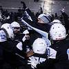 Cheyenne East head coach Chad Goff jumps into the team after their victory Friday, October 11, 2019 at Cheyenne East High School. The Cheyenne East High School Thunderbirds defeated the Cheyenne Central High School Indians 24-21. Nadav Soroker/Wyoming Tribune Eagle