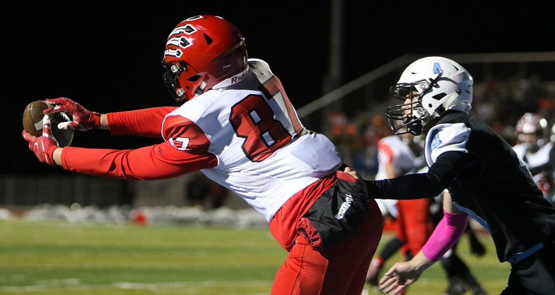 Cheyenne Central wide receiver Brady Storebo (87) hauls in a touchdown pass Friday, October 11, 2019 at Cheyenne East High School. The Cheyenne East High School Thunderbirds defeated the Cheyenne Central High School Indians 24-21. Nadav Soroker/Wyoming Tribune Eagle