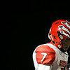 Cheyenne Central wide receiver Nathanial Talich (7) pauses after an Indians' touchdown Friday, October 11, 2019 at Cheyenne East High School. The Cheyenne East High School Thunderbirds defeated the Cheyenne Central High School Indians 24-21. Nadav Soroker/Wyoming Tribune Eagle