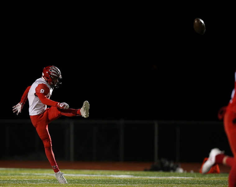 Cheyenne Central punter Andrew Johnson (9) kicks the ball Friday, October 11, 2019 at Cheyenne East High School. The Cheyenne East High School Thunderbirds defeated the Cheyenne Central High School Indians 24-21. Nadav Soroker/Wyoming Tribune Eagle