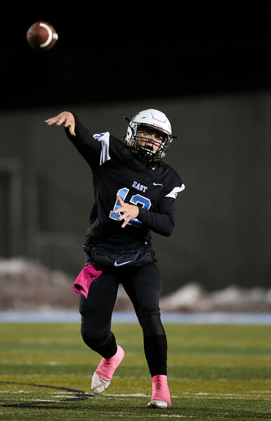 Cheyenne East quarterback Graedyn Buell (13) throws a pass Friday, October 11, 2019 at Cheyenne East High School. The Cheyenne East High School Thunderbirds defeated the Cheyenne Central High School Indians 24-21. Nadav Soroker/Wyoming Tribune Eagle