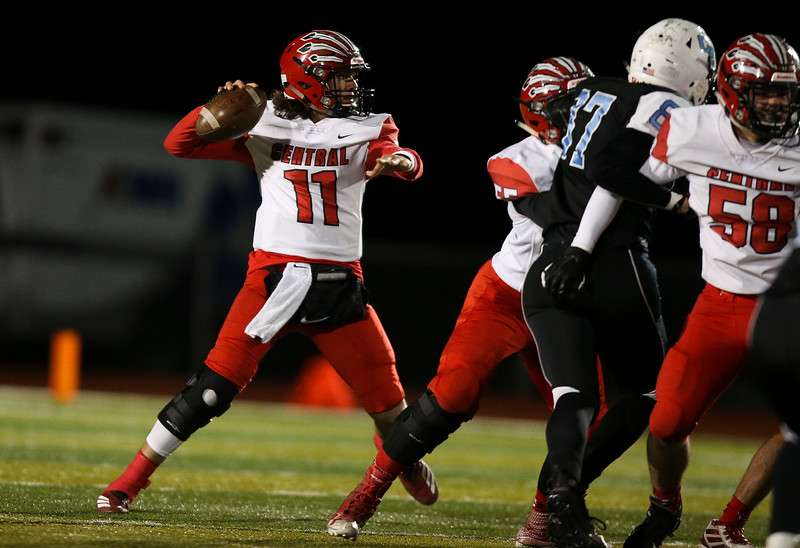 Cheyenne Central quarterback Dawson Macleary (11) lines up a pass Friday, October 11, 2019 at Cheyenne East High School. The Cheyenne East High School Thunderbirds defeated the Cheyenne Central High School Indians 24-21. Nadav Soroker/Wyoming Tribune Eagle