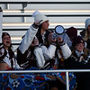 A small but loud group of Plainsmen fans cheer on their team from the visitors bleachers Friday, October 11, 2019 at South High School. The Bison defeated the Laramie High School Plainsmen 36-35. Nadav Soroker/Wyoming Tribune Eagle