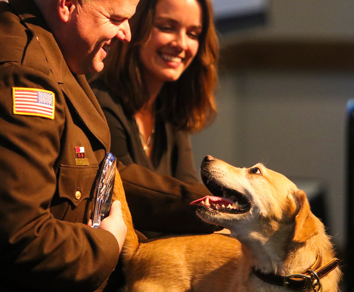 Deputy Adam Wright and K-9 Teca accept the K-9 Unit of the Year award at the inaugural Salute to First Responders Banquet and Awards ceremony Saturday, October 12, 2019 at Laramie County Community College. Nadav Soroker/Wyoming Tribune Eagle