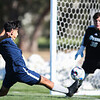 LCCC forward Manny Tapia kicks in a goal past Otero keeper Steve Cline Saturday, October 12, 2019 at Laramie County Community College. The Laramie County Community College boys soccer team defeat the Otero Junior College soccer team 4-1. Nadav Soroker/Wyoming Tribune Eagle