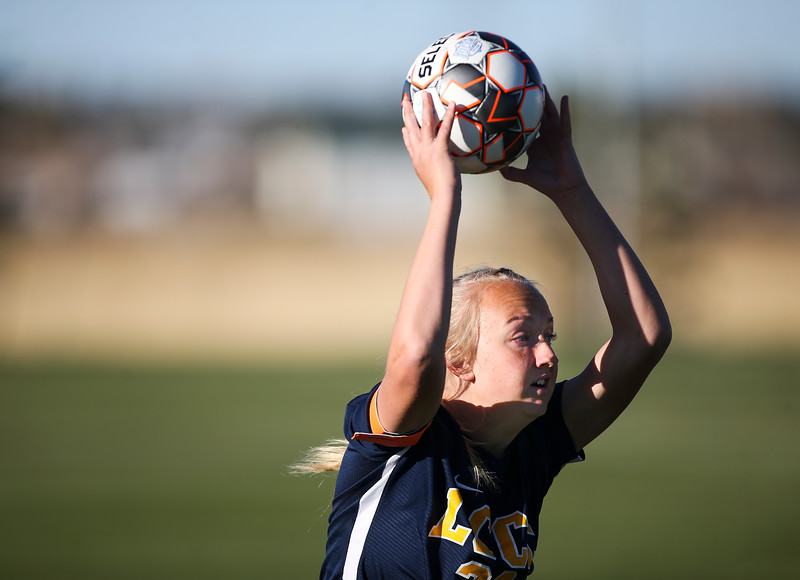 LCCC defender Amber Carlson throws in the ball Saturday, October 12, 2019 at Laramie County Community College. The Laramie County Community College girls soccer team defeated the Otero Junior College team 3-0. Nadav Soroker/Wyoming Tribune Eagle