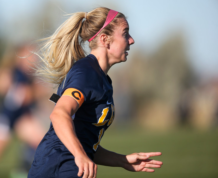 LCCC midfielder/forward Faith Meredith charges up the sideline for a goal Saturday, October 12, 2019 at Laramie County Community College. The Laramie County Community College girls soccer team defeated the Otero Junior College team 3-0. Nadav Soroker/Wyoming Tribune Eagle
